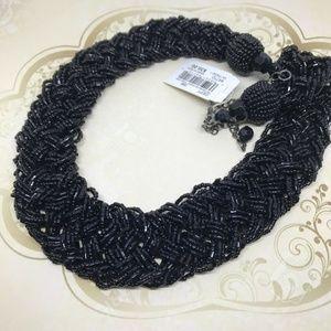 Macys Black Wide Beaded Choker Statement Necklace